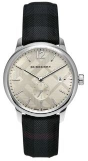 Stainless Steel & Checkered Charcoal Leather-Strap Watch
