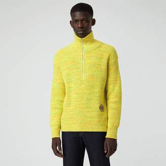 Burberry Rib Knit Wool Cashmere Blend Half-zip Sweater, Yellow
