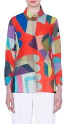 Akris Indian Summer Print Wool Crepe Tunic