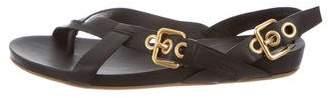 Miu Miu Leather Buckle-Embellished Sandals