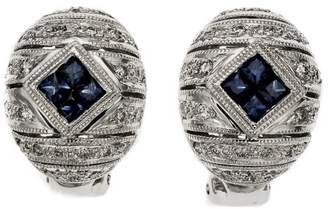 14K White Gold Sapphire Diamond Domed Earrings