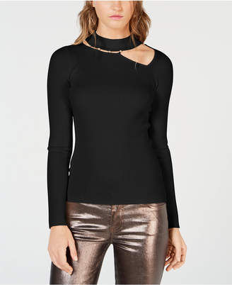 GUESS Mock-Neck Asymmetrical-Cutout Sweater
