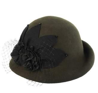 5ce2a786771 Cloche doublebulls hats Dressy Hat Girl Lady Vintage Black Gauze Autumn Winter  Wool Bowler Hat