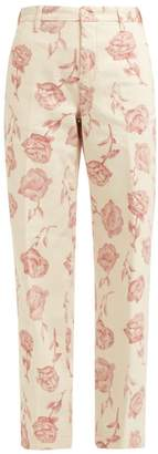Aries Rose Print Wide Leg Cotton Trousers - Womens - Ivory Multi