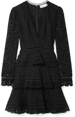 Zimmermann Tali Tiered Crochet-trimmed Broderie Anglaise Cotton Mini Dress - Black