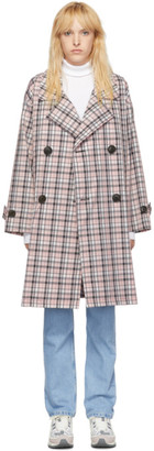 Opening Ceremony Pink Oversized Plaid Trench Coat