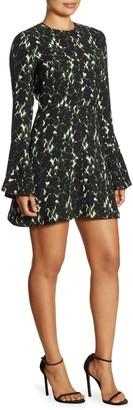 A.L.C. Trixie Printed Silk Bell Sleeve Mini Dress