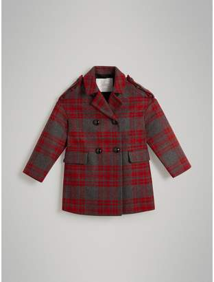 Burberry Tartan Wool Tailored Coat , Size: 12Y