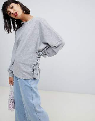 Pieces Sweatshirt With Lace Up Side Detail