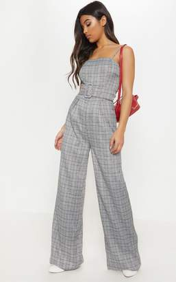 PrettyLittleThing Grey Check Belted Wide Leg Jumpsuit