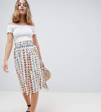 Asos cotton midi skirt with button front in floral print