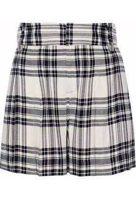 Alice + Olivia Pleated Checked Twill Shorts