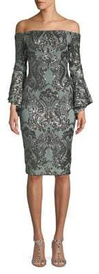 Betsy & Adam Off-The-Shoulder Embroidered Sheath Dress