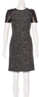 Michael Kors Leather-Accented Bouclé Dress w/ Tags