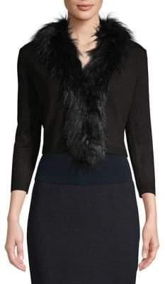 Eliza J Faux Fur Trim Long Sleeve Cardigan