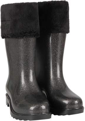 Melissa Grey Girl Rain Boots With Logo