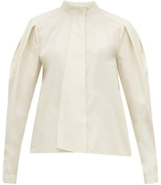 Lemaire Box Pleat Drape Tie Cotton Blouse - Womens - Ivory