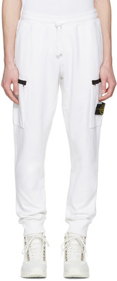 Stone Island White Leg Patch Lounge Pants $230 thestylecure.com
