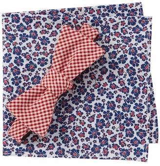 Original Penguin Natural Gingham Bow Tie & Pocket Square Set