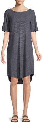 Eileen Fisher Striped Half-Sleeve Hemp-Blend Shift Dress