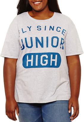 Hybrid Tees Short Sleeve Scoop Neck Graphic T-Shirt-Juniors Plus