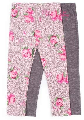 Betsey Johnson Leopard Floral Print & Solid Leggings - Pack of 2 (Big Girls)