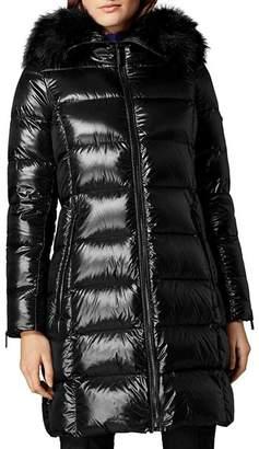 Karen Millen Faux Fur-Trim Hooded Down Puffer Coat