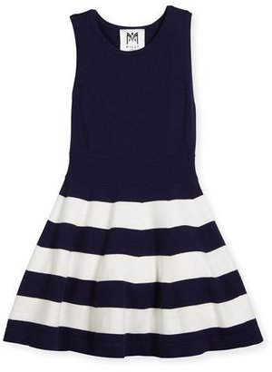 Milly Minis Sleeveless Striped Fit-and-Flare Sweaterdress, Navy, Size 4-7 $165 thestylecure.com
