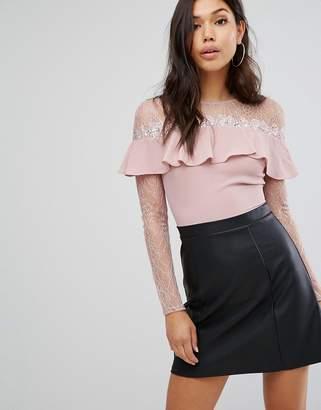 Lipsy 2 In 1 Lace Long Sleeve Skater Dress