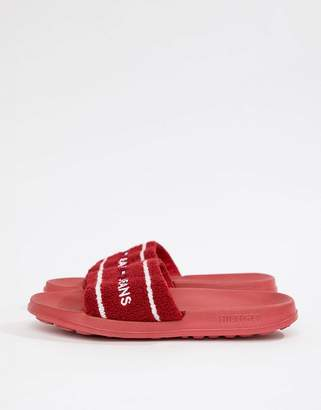 Tommy Jeans Towelling Flag Logo Slider in Red