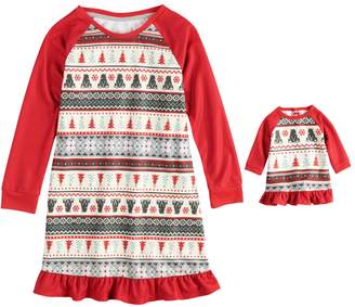 Cuddl Duds Girls 4-16 Jammies For Your Families Polar Bear Fairisle Family Pajamas Nightgown & Doll Gown Set