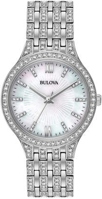 Bulova Women's Crystal Accented Stainless Steel Bracelet Watch 32mm 96L242 $375 thestylecure.com