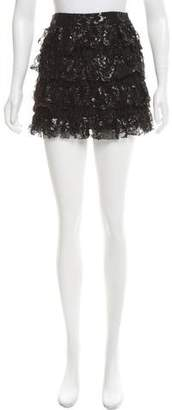 Alice + Olivia Metallic Lace-Tiered Skirt