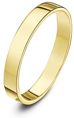 Theia Unisex 9 ct Yellow Gold, Super Heavy Flat Shape, Polished, 3 mm Wedding Ring - Size H