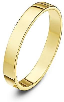 Theia Unisex 9 ct White Gold, Super Heavy Flat Shape, Polished, 4 mm Wedding Ring - Size O