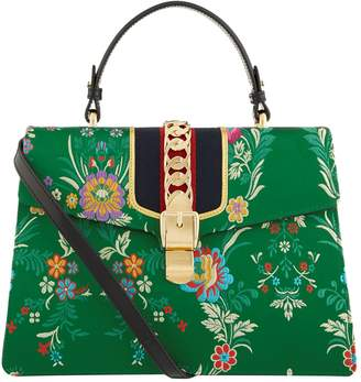 Gucci Large Sylvie Floral Silk Top Handle Bag