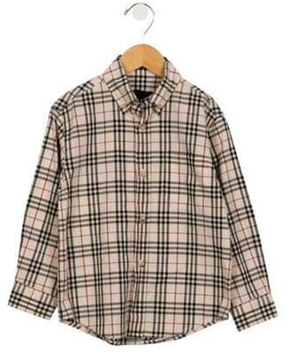 Burberry Boys' Nova Check Button-Up Shirt tan Boys' Nova Check Button-Up Shirt