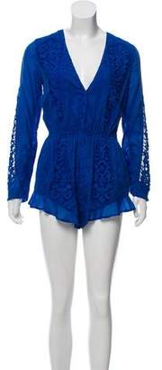 The Jetset Diaries Long-Sleeve Embroidered Romper