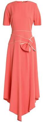 Roksanda Asymmetric Bow-Detailed Crepe-Satin Midi Dress