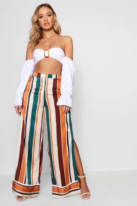 boohoo Woven Rouche & Split Stripe Wide Leg Trouser