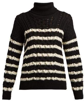 Loewe Striped Cable Knit Roll Neck Wool Sweater - Womens - Black White