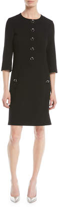 Michael Kors 3/4-Sleeve Button-Front Stretch Boucle Crepe Wool A-Line Dress