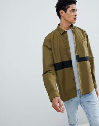 HUGO Elever Tape Detail Overshirt in Khaki