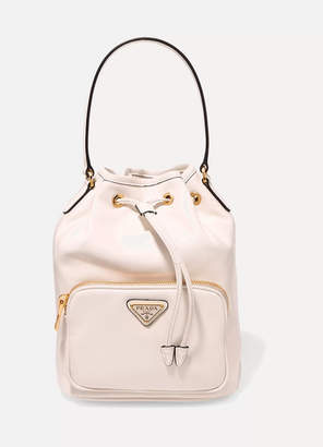 Prada Vela Small Leather Bucket Bag - White