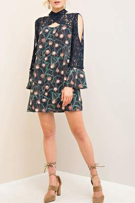 Entro Navy Lace Floral Dress