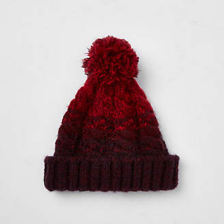 River Island Red cable knit bobble beanie hat