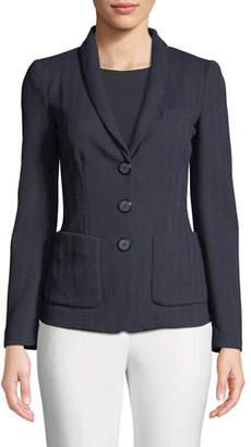 Emporio Armani Herringbone-Jersey 3-Button Blazer Jacket