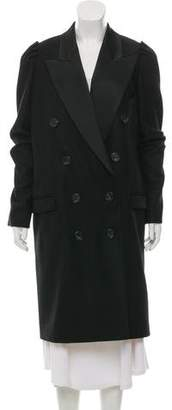 No.21 No. 21 Wool Peak-Lapel Double-Breasted Ostrich Feather Accented Long-Coat w/ Tags