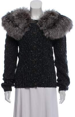 Michael Kors Fox Fur-Trimmed Cashmere Cardigan w/ Tags