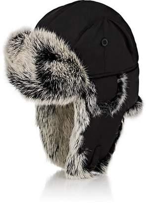 Crown Cap Men's Fur-Trimmed Down-Filled Aviator Hat - Black